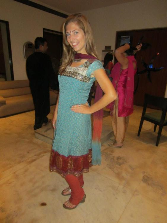Erica Hobbs attending an Indian wedding with new friends in Mumbai - MissMaps.com Featured Female Traveler